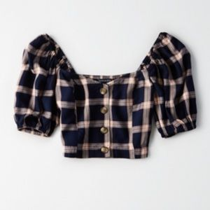 American Eagle Plaid Woven Top